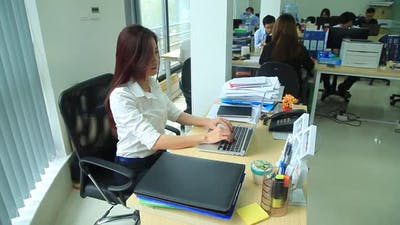 Business Woman Working Hard Work in Office 2