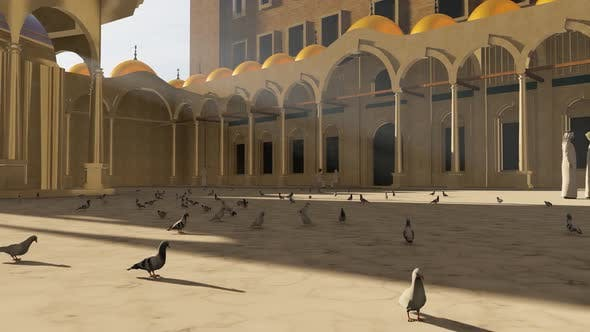 Pigeons in the Great Mosque and Courtyard