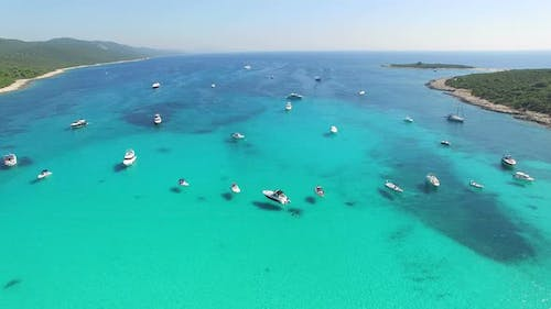 Flying over pleasure boats in a nautical paradise