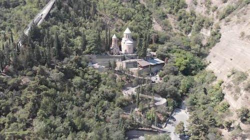 Aerial view of Mama Daviti church at Mtatsminda. Tbilisi. Georgia
