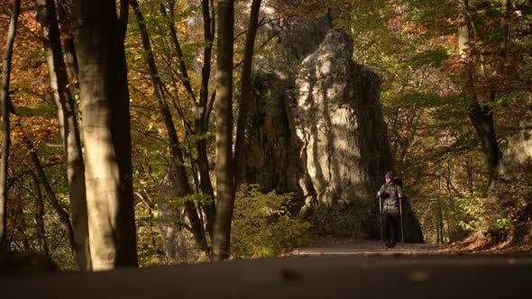 Wanderer auf einer Wanderung auf einem Trail