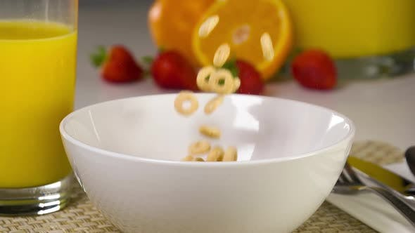Thumbnail for Slow Motion Cereal Being Poured Into A Bowl