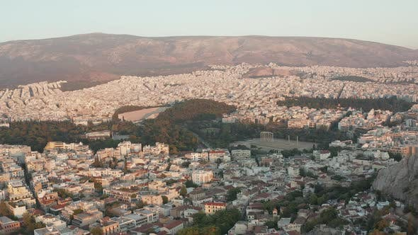 Aerial View of The Temple of Olympian Zeus in Athens, Greece During Golden Hour Sunset Light