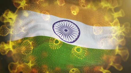 India Flag With Coronavirus Microbe Centered
