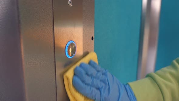 Cleaning and Sanitizing an Elevator Push Button Control Panel Against Bacteria and Virus