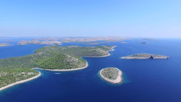 Aerial view of Dalmatian islands and the salty lake of Dugi otok