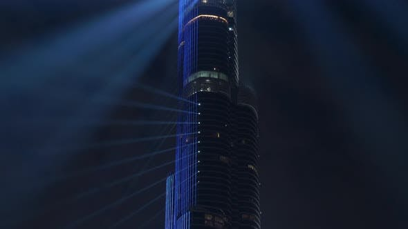 Thumbnail for Light Show of High Rise Skyscraper Building at Night