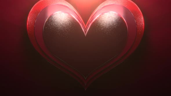 Thumbnail for Closeup motion big romantic heart on red Valentines day shiny background