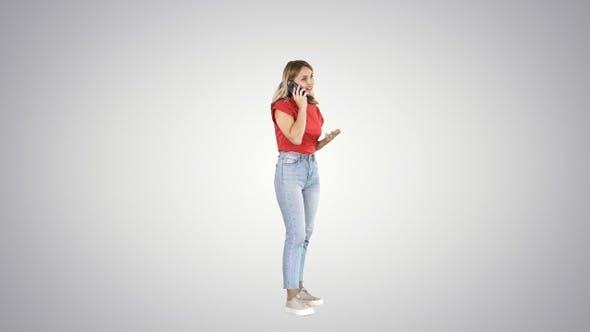 Thumbnail for Young woman talking on mobile phone on gradient background