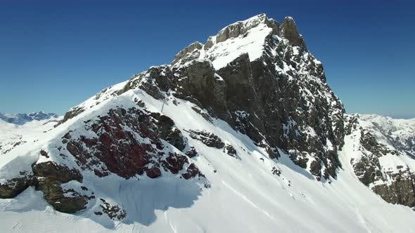 Thumbnail for Aerial View of Snow Mountain Peak Outdoors Environment Scenery