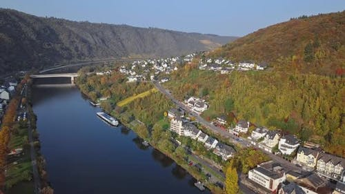 Flight Over Cochem Town and Vineyards, Germany
