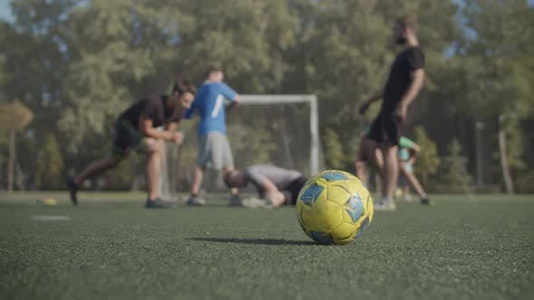 Soccer Team Warming Up Before Sport Training