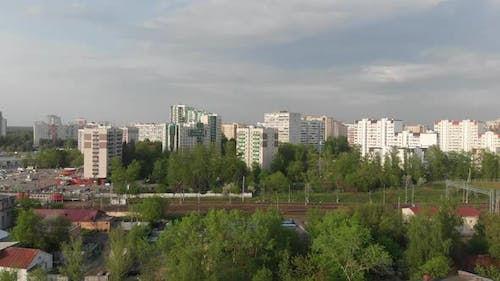 Top View of Zelenograd and Railways in Moscow, Russia