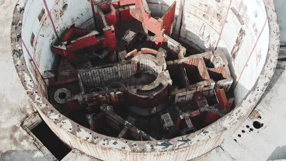 Thumbnail for AERIAL SHOT CRIMEA Near SHELKINO City AUGUST 2019 The Room of a Nuclear Reactor in the Destroyed