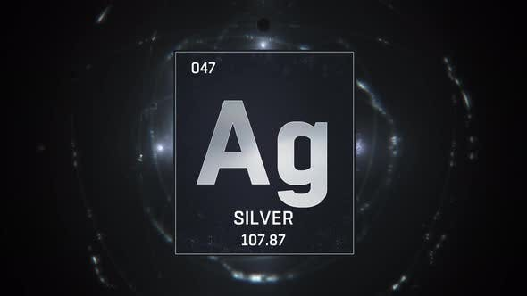 Thumbnail for Silver as Element 47 of the Periodic Table on Silver Background