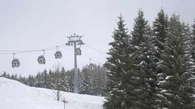 Cable cars moving