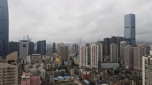 Shenzhen city, China, 4k time-lapse of Shenzhen cityscape with cloud