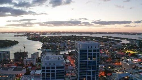 Evening Miami Beach Aerial 4K