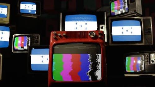 Flag of Honduras and Retro TVs.
