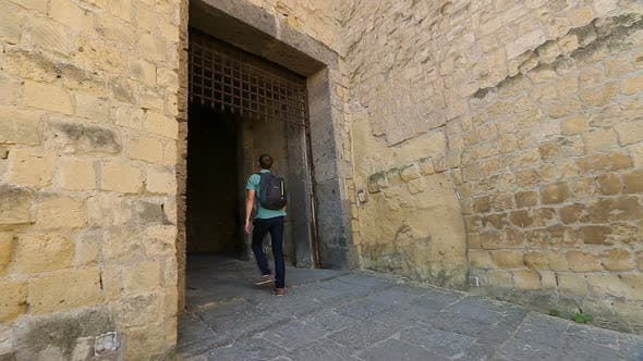 Male Tourist Entering Medieval Castel Dell'Ovo, Sightseeing in Naples, Tourism