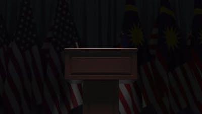 Flags of Malaysia and the USA and Tribune