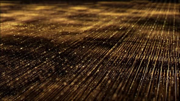 Thumbnail for Golden Matrix Grid Particles Background 03