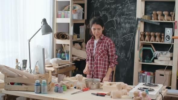 Modern Craftswoman Starting Workday