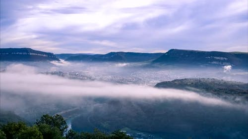 Tarn valley covered in clouds, Millau, France.