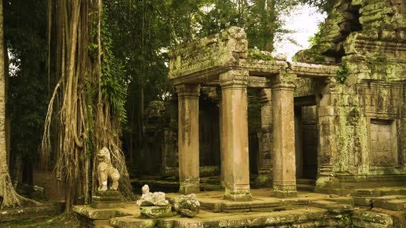 Thumbnail for Preah Khan Temple Landmark Gateway with Overgrown Trees in Siem Reap, Cambodia