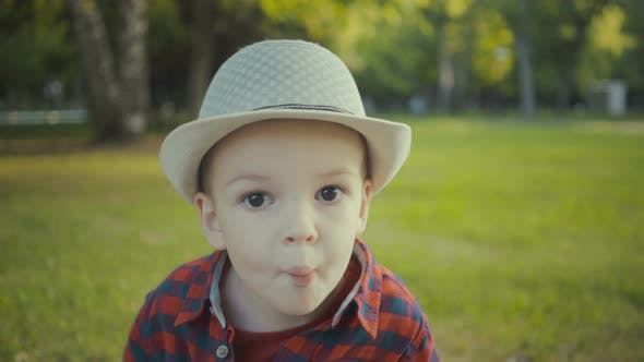 Thumbnail for Portrait of a Boy of Two Years in a Hat and Shirt in the Park.