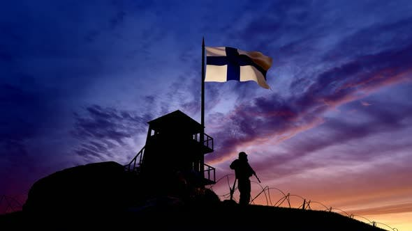 Thumbnail for Finnish Soldier On The Border At Night At The Border