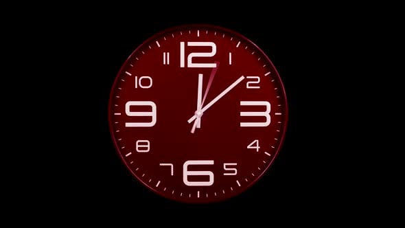 Thumbnail for Modern Red Clock Face Moving Fast Forward