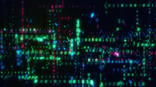 Digital Binary Data Streaming Code Matrix Background