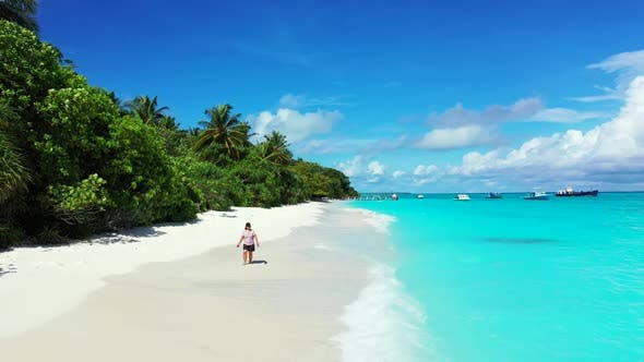 Thumbnail for Single lady happy and smiling on tropical coastline beach lifestyle by transparent water with clean