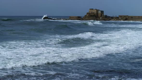 Thumbnail for Panorama Of Caesarea And Waves In Israel.