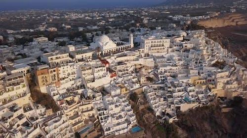 Aerial Panorama of Fira Town, Santorini