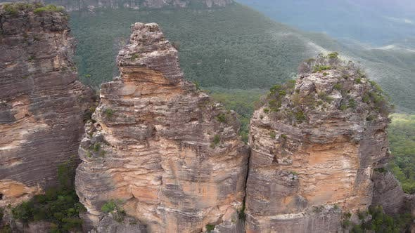 Blue Mountains National Park. Three Sisters, Beautiful Cliffs in the Middle of a Green Bush. Aerial