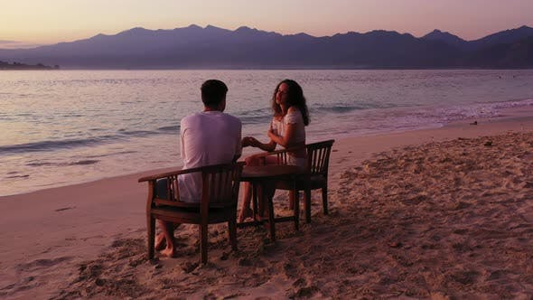 Thumbnail for Beautiful People Married on Vacation Spend Quality Time on Beach on Paradise White Sand
