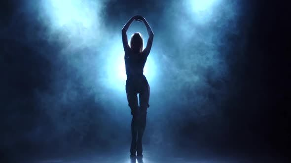 Thumbnail for Sexy Blonde Dancer in Lingerie. Silhouette in Smoky, Slow Motion