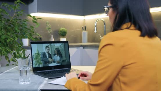 Woman Applauding After Successful Ending Online Video Briefing