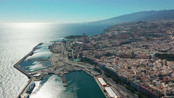 Thumbnail for Aerial View. the City of Santa Cruz De Tenerife. The Capital of the Canary Islands in Spain. A City
