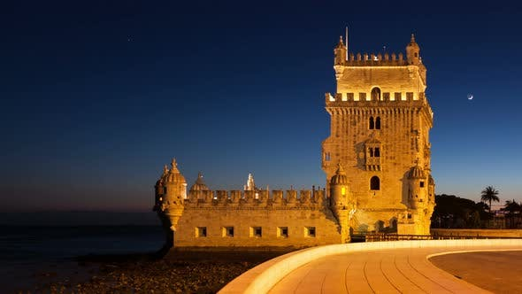 Thumbnail for 4 K Night Timelapse of The Belem Tower in Lisbon - Portugal - Uhd