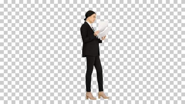 Thumbnail for Serious Brunette Businesswoman reading documents, Alpha Channel