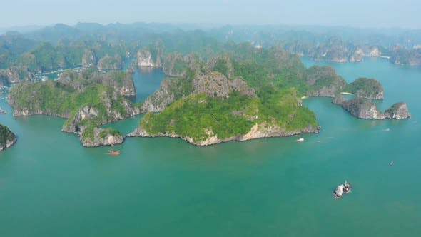 Thumbnail for Aerial: unique flying over Ha Long Bay Lan Ha bay Cat Ba island Vietnam