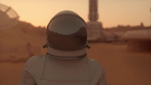 Astronaut auf dem Planeten Mars