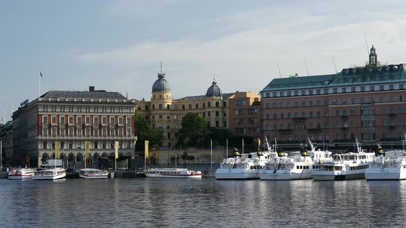 Thumbnail for Cruise sightseeing boats downtown Stockholm Sweden