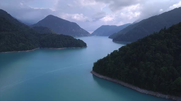 Thumbnail for Aerial Flythrough of Beautiful Lake and Mountains. Inguri in Georgia