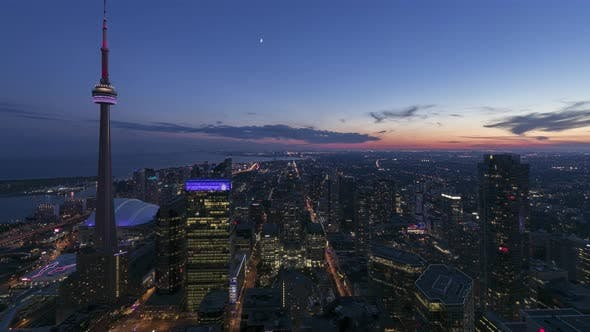 Toronto, Canada, Timelapse  - The financial district of Toronto from day to night