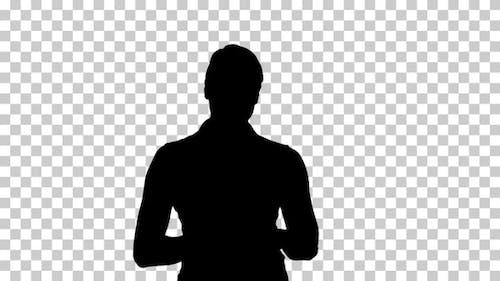 Silhouette  woman walking , Alpha Channel