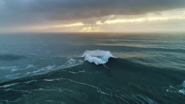 Thumbnail for Atlantic Ocean Big Waves and Dramatic Sunset Sky